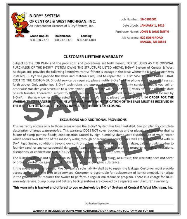 Lifetime Warranty Customer Warranty Mason Mi